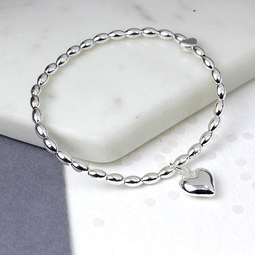 Silver plated bead and heart charm bracelet