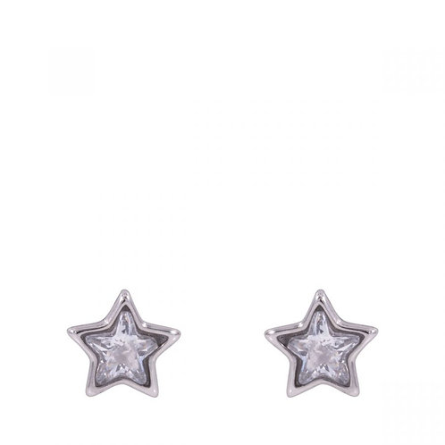 Keira White Gold Plated and Clear Crystal Star Stud Earrings