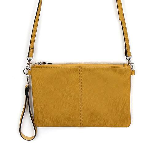 Vegan Leather Convertible Clutch Bag in Mustard