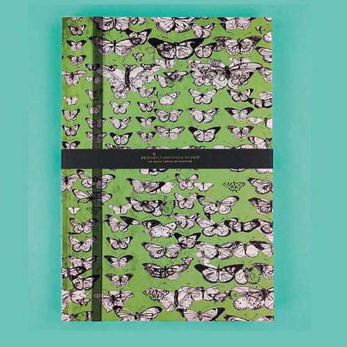 Jessica Russel Flint A6 Half Lined Hardback Notepad 'Vintage Butterflies
