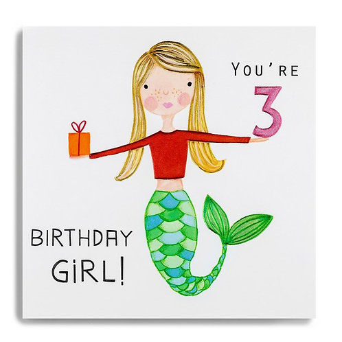 3 'You're 3 Birthday Girl!' Card