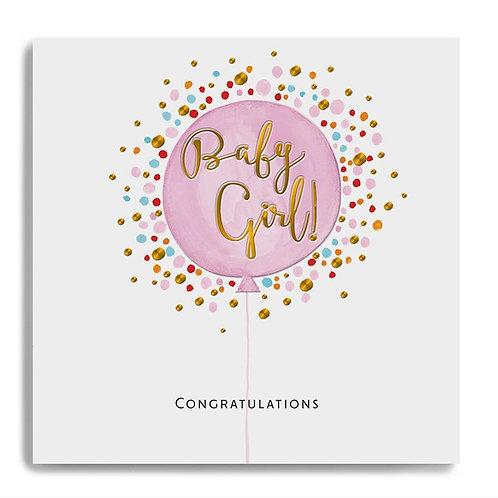 Congratulations Baby Girl - Pink Balloon