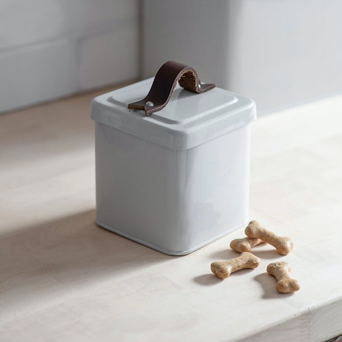 White Pet Treat Tin with Leather Handle