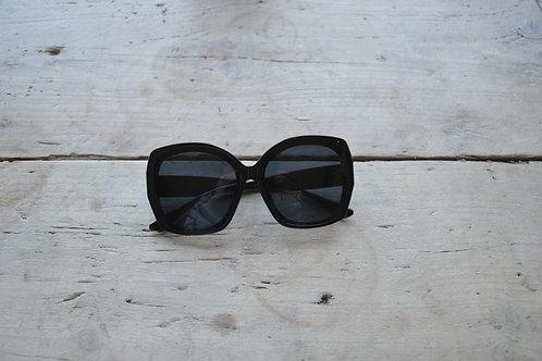 Eliza Gracious Black Oval Rectangular Sunglasses