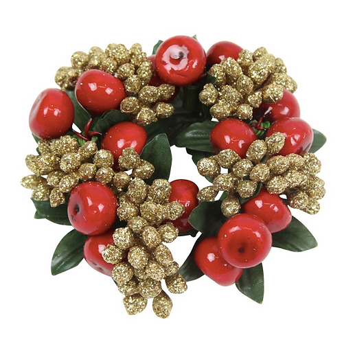 Small Gold Glitter Berry Candle Ring