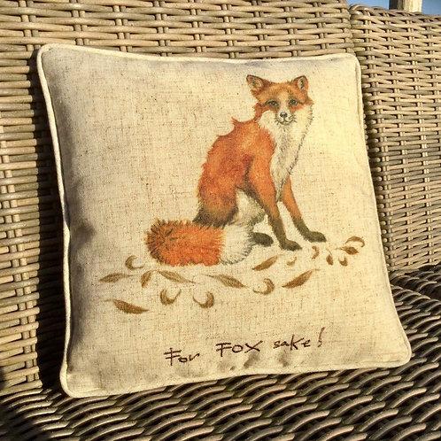 """""""For Fox Sake!"""" Linen Cushion"""
