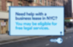 sign offering help with business leases in NYC and free legal services