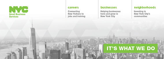 Banner with NYC small business services logo and services
