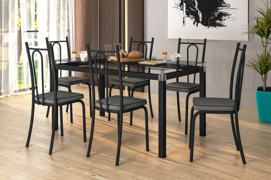 02 - Conjunto Malva 1,40 Preto + Cadeira