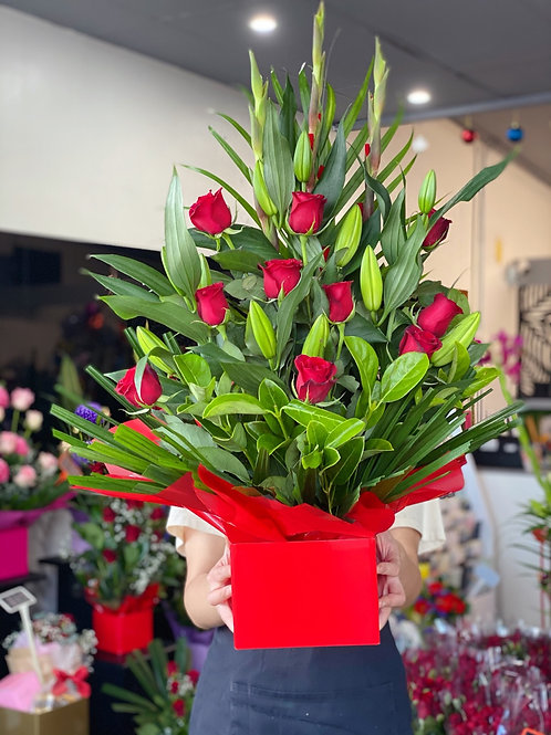 Long stem red rose with oriental lily and red gladiolus big box arrangement