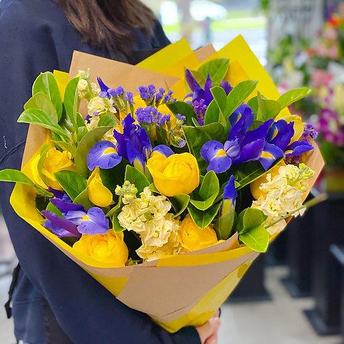 Blue Iris bright colour bouquet( designer choice)