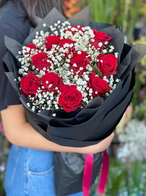 Love you even more ( dozen long stem premium red rose with gyps)
