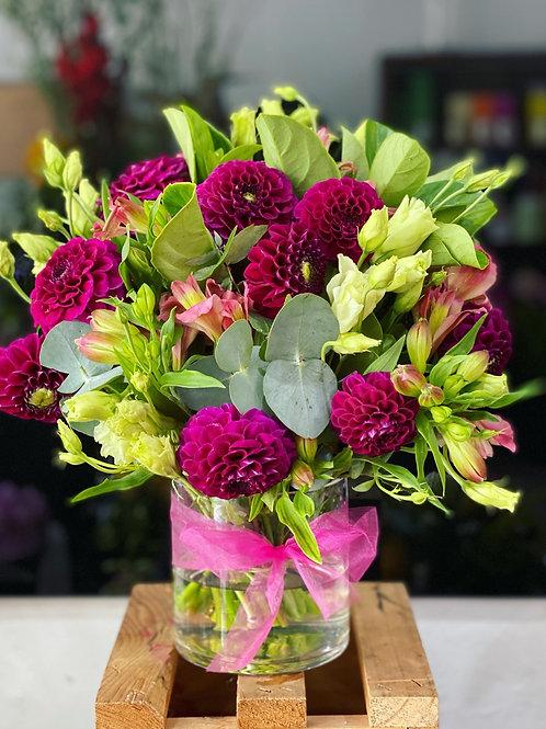 No stress seasonal flower small bouquet in a cute vase
