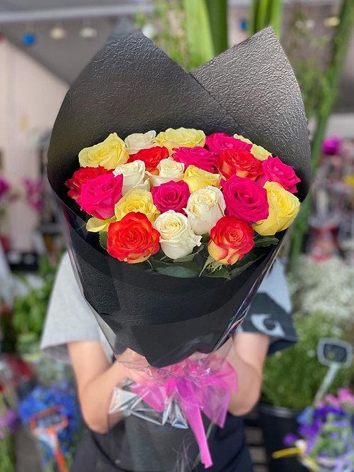 24 stems long stem colour rose bouquet