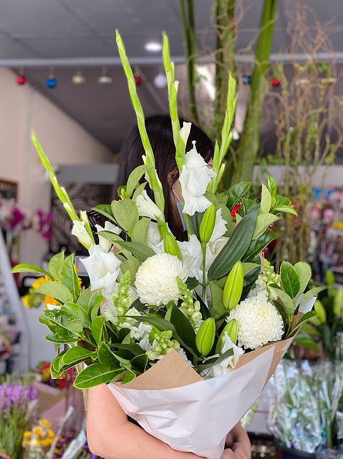 White angel bouquet( white and green sympathy bouquet)