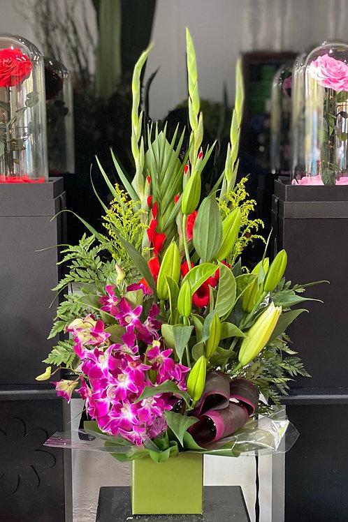 Tall floral design arrangement