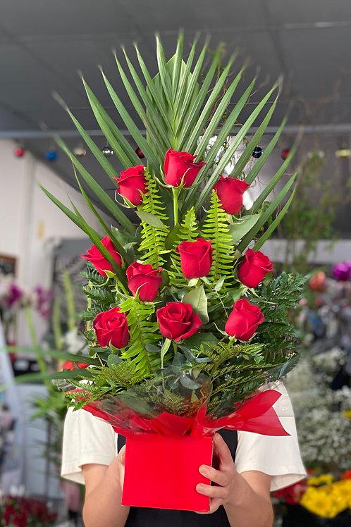 Classic red rose box (front facing arrangement)