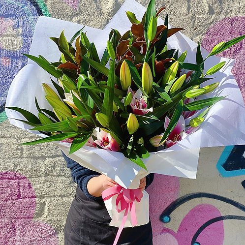 PINK Oriental lily Bouquet with fine Magnolia foliage