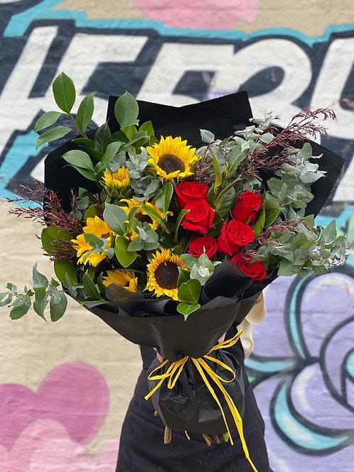 MY SUNSHINE (sunflowers and premium red roses)