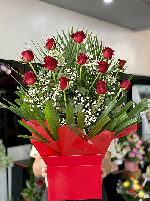 Classic big rose box with dozen long stem red  rose with gyps