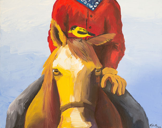 Cartoon style childrens book painting of a cowboy and yellow bird on a horse