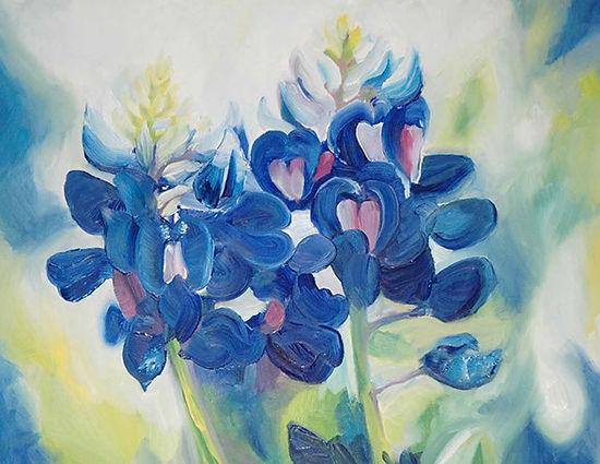 Western art oil painting of Texas blue bonnets