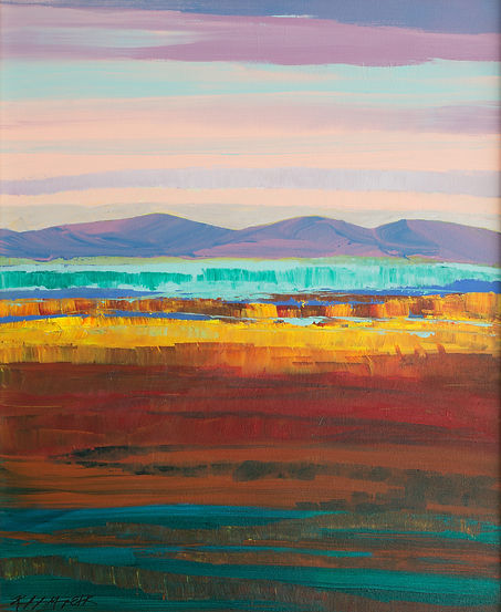 Abstract landscape painting of purple mountains and yellow field