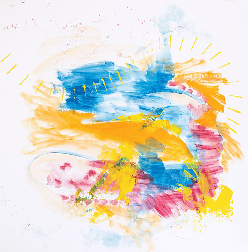 Bright modern abstract art in orange and blue