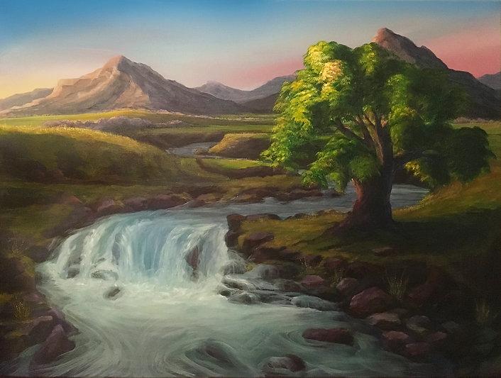 Waterfall mountain tree.JPG