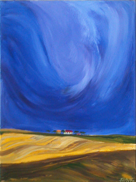Landscape painting of a stormy sky over farmland fields