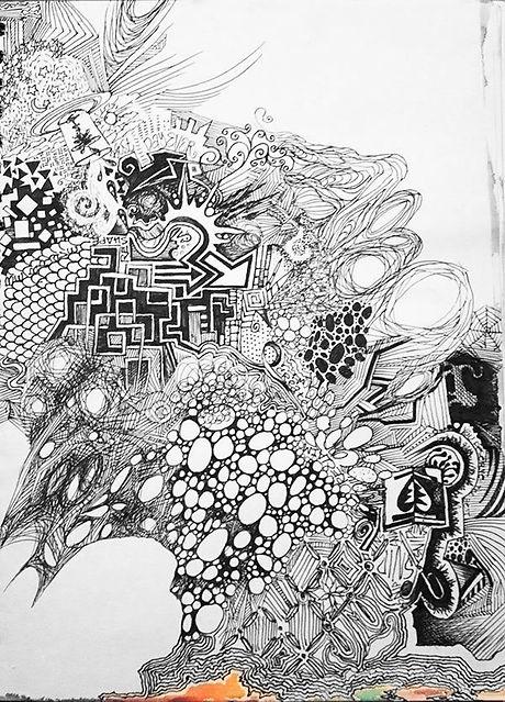 Black and white pen sketch illustration of punk patterns