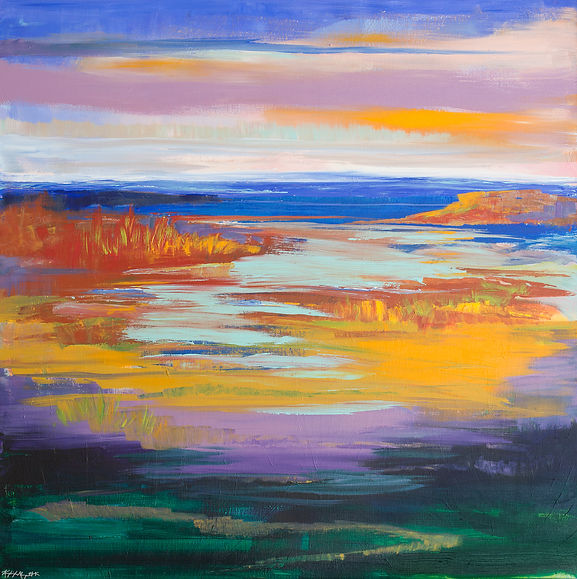 Abstract landscape of sky reflecting in marsh water