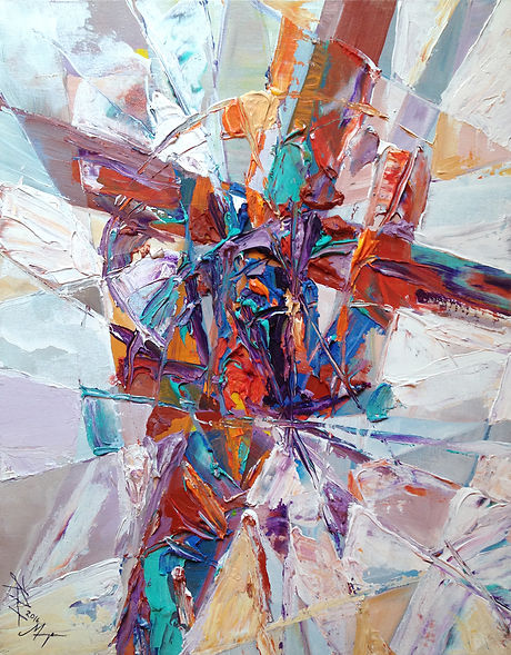 Abstract contemporary religious art of a cross in stained glass style with rust and turquoise and light background