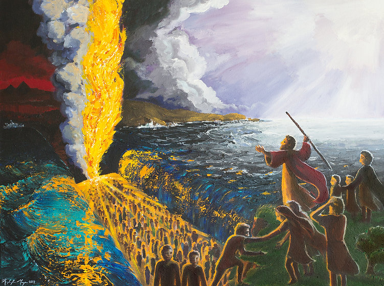 Contemporary religious Biblical art of Moses parting the red sea
