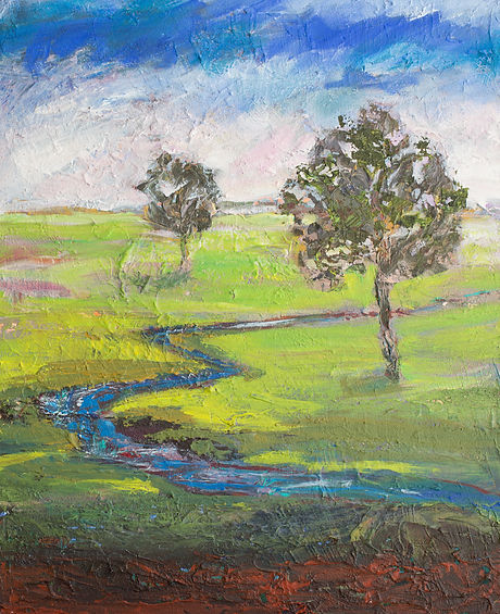 Landscape painting of two trees in a bright lime green field with a river