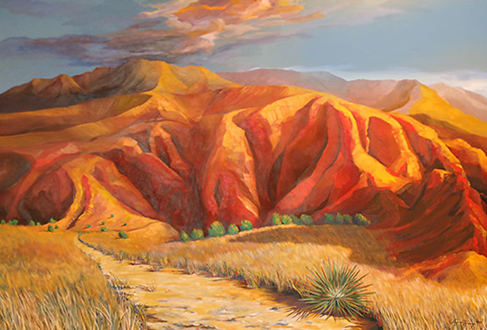 Landscape painting of Southwestern desert mountains at sunset with yucca plants