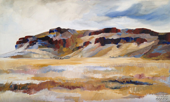 Landscape painting of the Davis Mountains in west Texas in subtle neutral earth tone colors