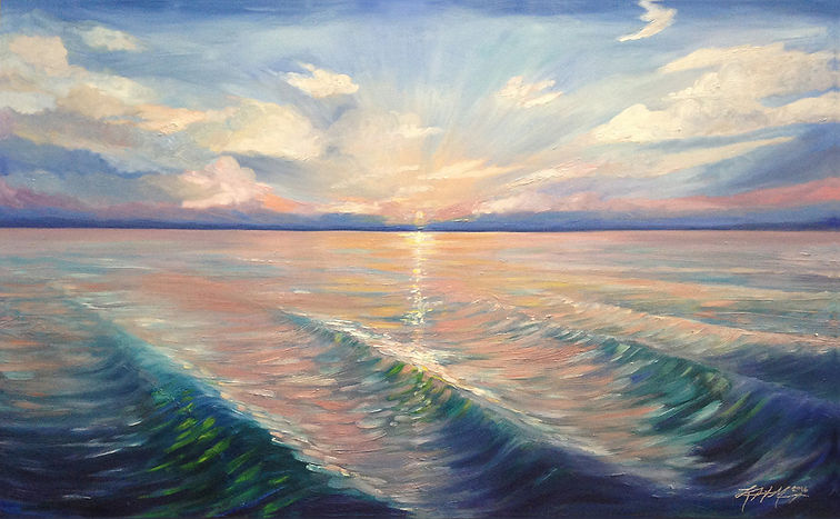 Sea scape painting of the ocean and clouds at sunrise