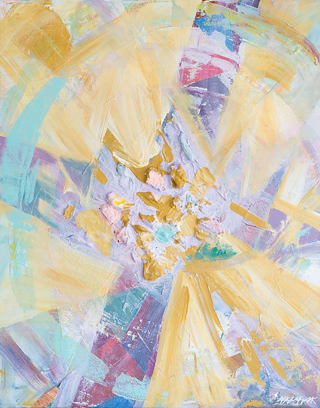 Abstract contemporary religious art of a cross in stained glass style with lavender and turquoise and light background