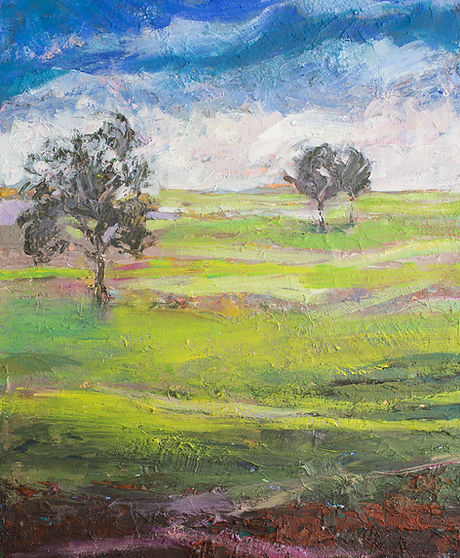 Landscape painting of two trees in a bright lime green field