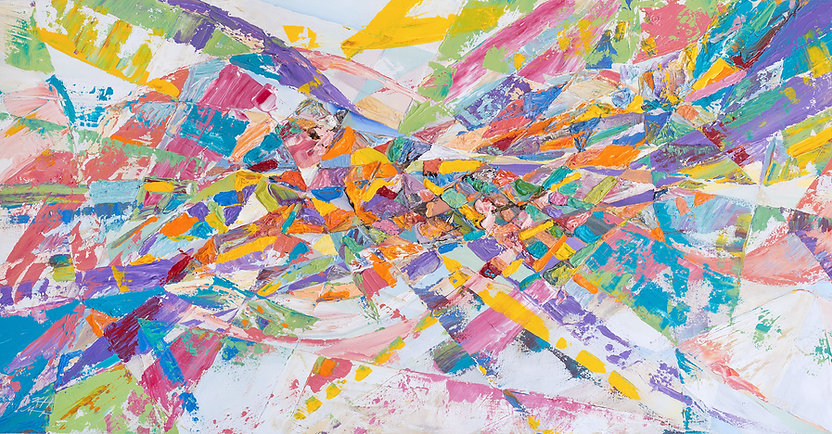 Bright colored fragmented geometric shapes abstract painting