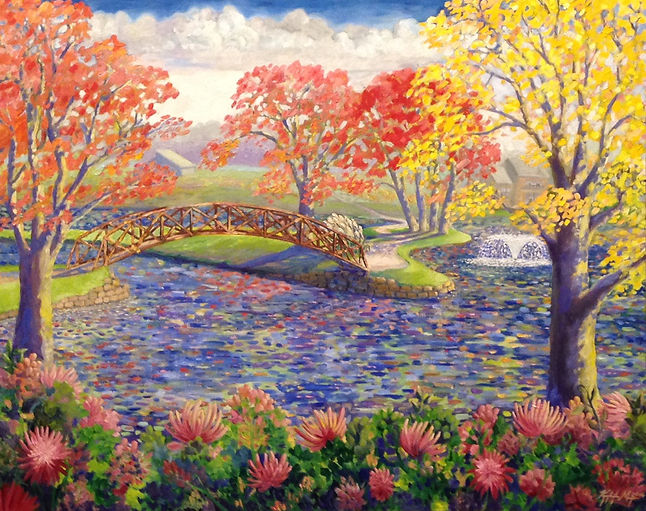 Landscape painting of whimsical trees and a bridge reflecting in a lake