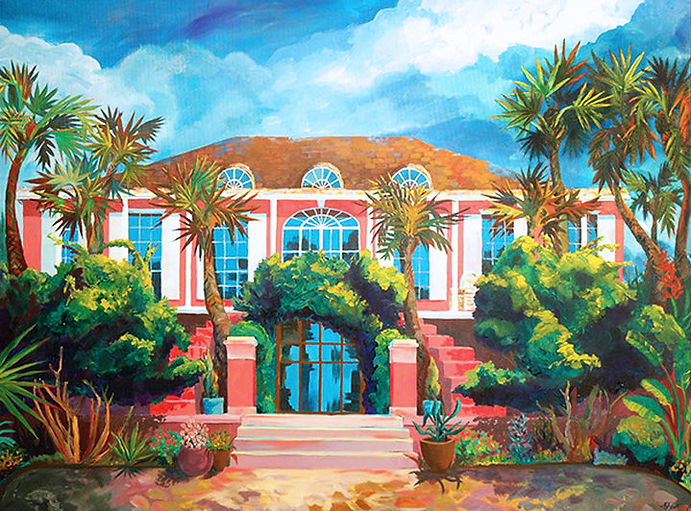Landscape painting of a colonial pink Florida house and palm trees