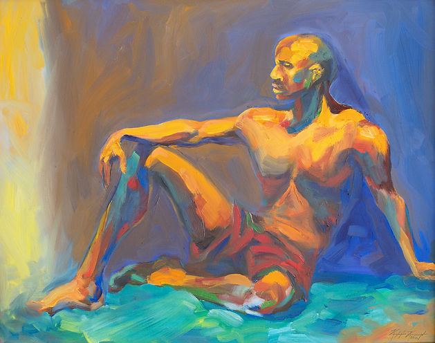 Oil painting portrait of African American male figure in orange aqua and blue violet