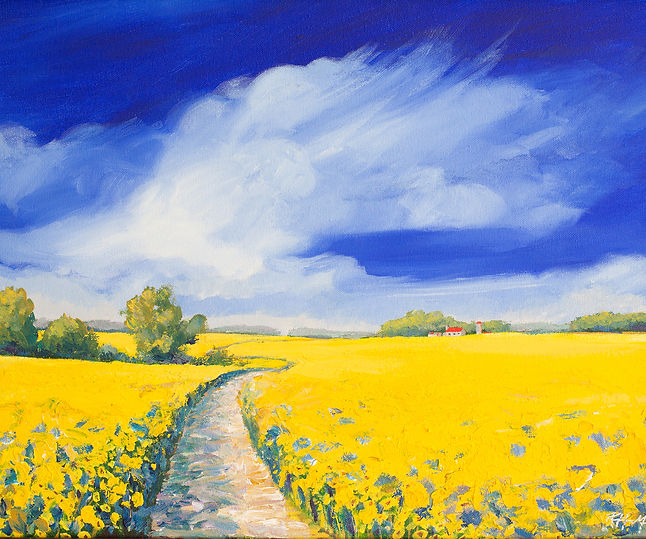 Landscape painting of yellow wildflowers and farm house