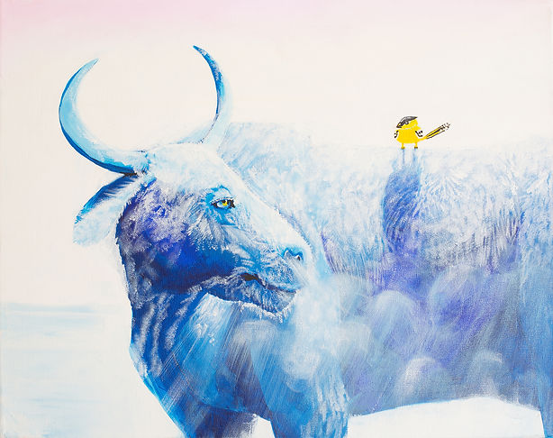 Cartoon style childrens book painting of a yellow bird on a blue yak in winter