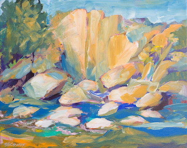 Landscape painting of cliffs and water at Castor River shut-ins