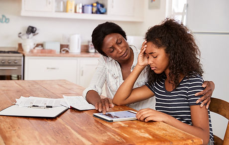 Mother Helps Stressed Teenage Daughter W