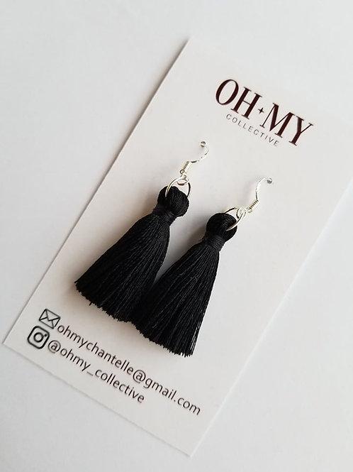 Black silk tassels