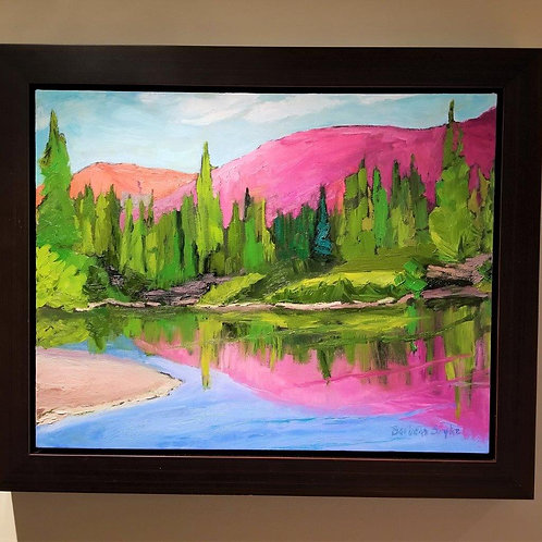 Pink Reflections - Framed Oil Painting